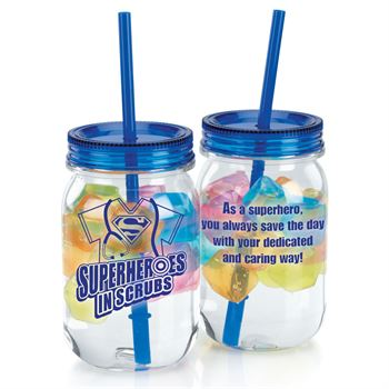Superheroes In Scrubs Blue Mason Tumbler With Reusable Ice Cubes