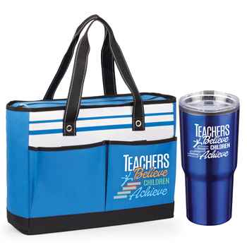 Teachers Believe, Children Achieve Traveler Tote Bag & Timber Travel Tumbler Combo