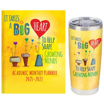It Takes A Big Heart To Help Shape Growing Minds Planner & Full-Color Insulated Tumbler