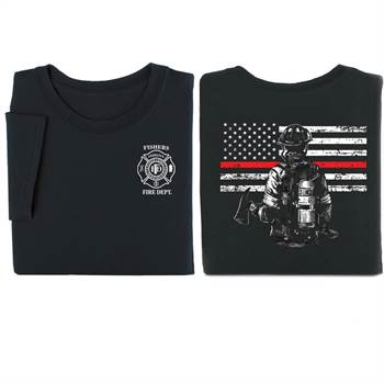 Firefighter with Thin Red Line 2-Sided T-Shirt