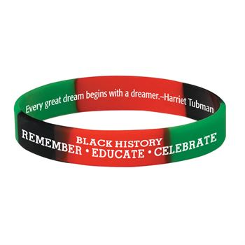 Black History: Remember, Educate, Celebrate 2-Sided Silicone Bracelet