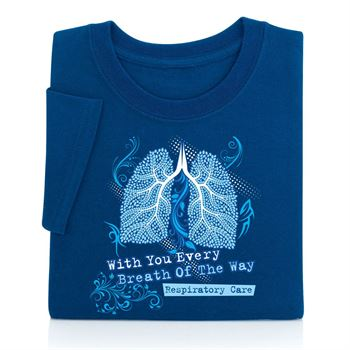 Respiratory Care: With You Every Breath Of The Way Navy Blue Short Sleeve Unisex T-Shirt