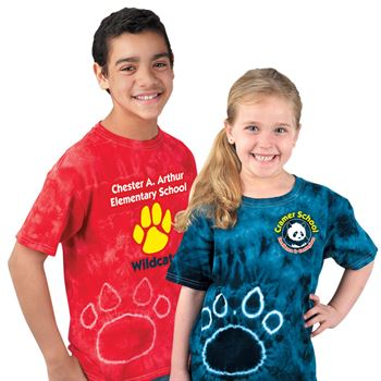 Tie-Dye Youth Pawprints Tee By Gildan ®