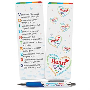 Volunteers Are The Heart Of Our Team Deluxe Bookmark & Pen & Gift Set