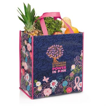 Strength In Numbers Power In Pink Breast Cancer Awareness Laminated Floral Shopper Tote
