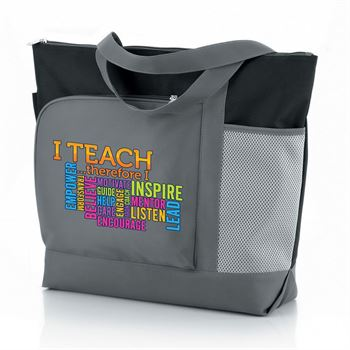 I Teach Therefore I Inspire Vista Tote Bag With Color Text