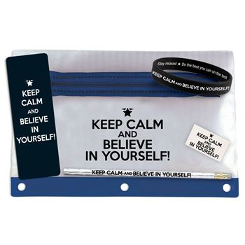 Keep Calm & Believe In Yourself Pencil Test Prep Pouch Set