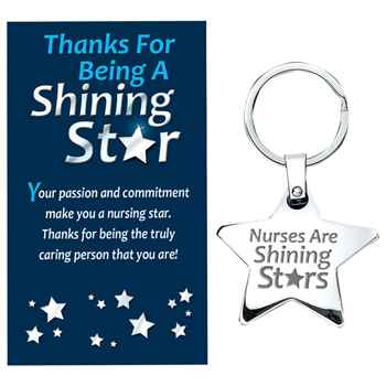 Nurses Are Shining Stars - Star Key Tag With Keepsake Card