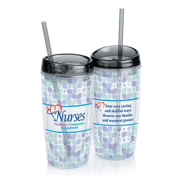 Nurses Excellence Compassion Commitment Acrylic Tumbler With Straw
