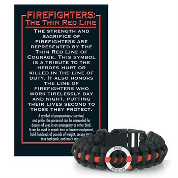 Fire Rescue Paracord Bracelet With Thin Red Line Card