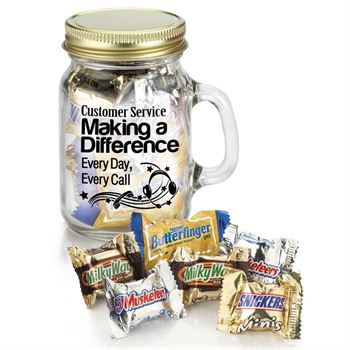 Customer Service Making A Difference, Every Day, Every Call - Mini Glass Mason Jar With Mini Mix