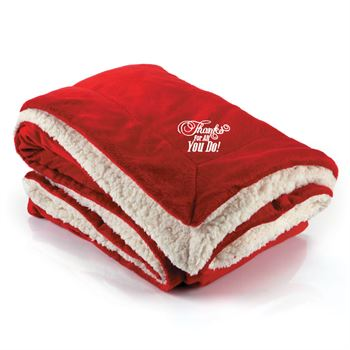 Holiday warm essentials - Thanks For All You Do! Holiday Embroidered Sherpa Blanket