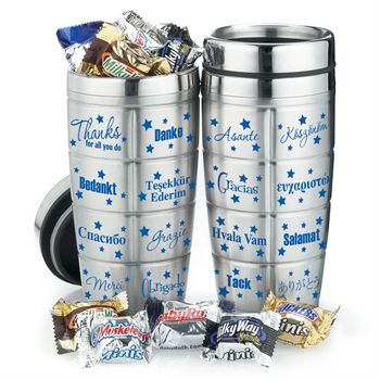 Thanks For All You Do Stainless Steel Message Travel Mug With Mini Mix