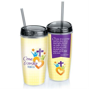 Come Worship With Us Double-Wall Acrylic Tumbler With Straw