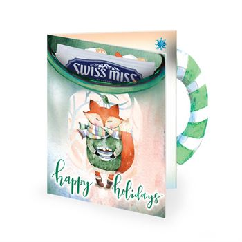 Fox Holiday Greeting Card With Hot Chocolate