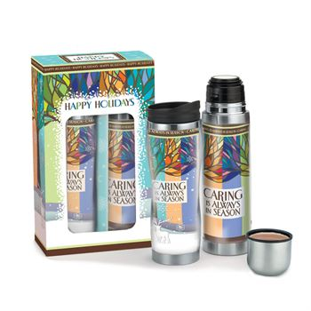 Caring Is Always In Season Travel Tumbler & Stainless Steel Vacuum Thermos Holiday Gift Set