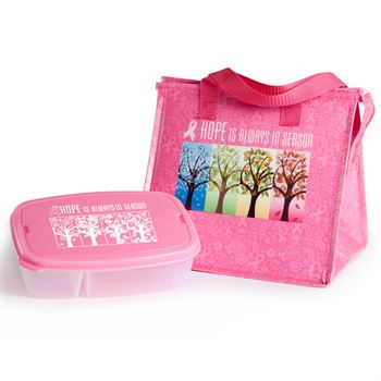 Breast Cancer Awareness Insulated Eco-Lunch Bag & Food Container Gift Combo