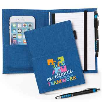 Excellence Through Teamwork Fabric Pocket Journal with Stylus Pen