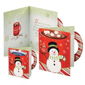 Snowman Greeting Card With Hot Chocolate