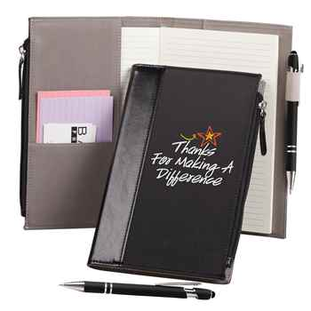 Thanks For Making A Difference Leatherette Pocket Journal & Stylus Pen in Holiday Sleeve