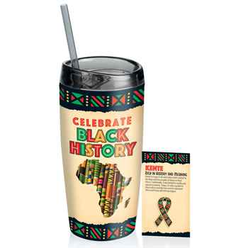 Kente Cloth Full Color Insulated Acrylic Tumbler 16-Oz. & Lapel Pin Set
