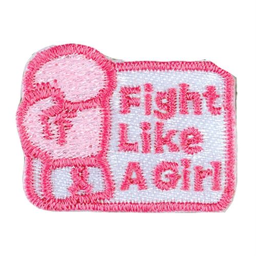 Embroidered Boxing Glove: Fight Like A Girl Breast Cancer Awareness Ribbon Roll Appliques