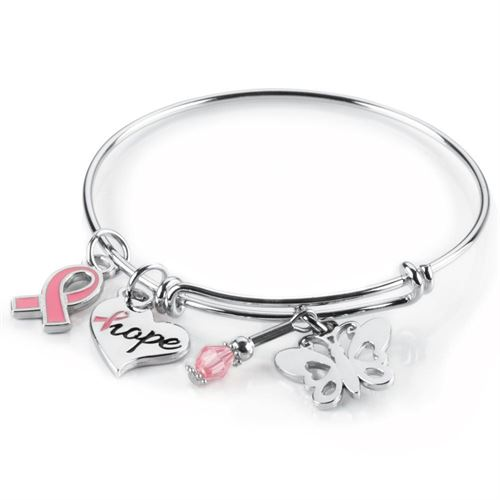 Breast Cancer Awareness Charm Bangle Bracelet