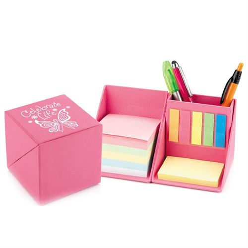 Celebrate Life Pink Recycled Note Cube Caddy