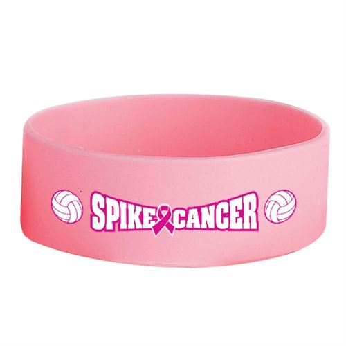 Pink Spike Cancer 1 Wide Volleyball Themed Silicone Breast Cancer Awareness Bracelets