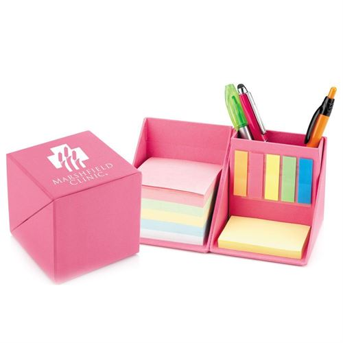 Pink Recycled Note Cube Caddy - Personalization Available
