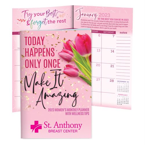 12-Month 2016 Pink Women's Monthly Planner With Wellness Tips - Personalization Available