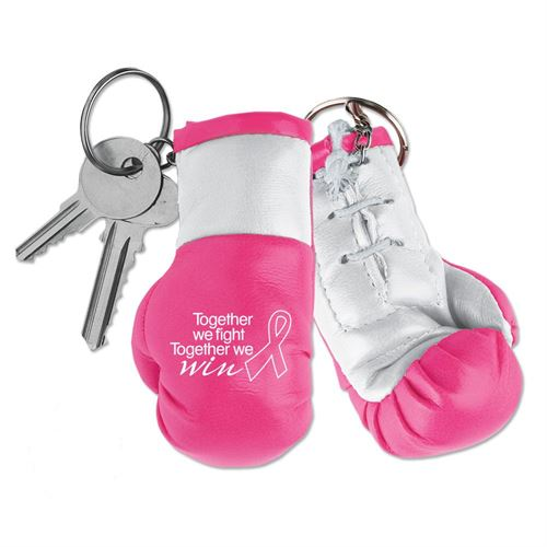 Pink Together We Fight, Together We Win Breast Cancer Awareness Miniature Boxing Glove Key Chain