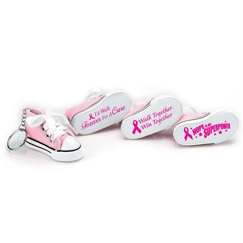 Breast Cancer Mini Canvas Hi-Top Sneaker Key Ring Assortment Pack - Sold In Packs Of 12