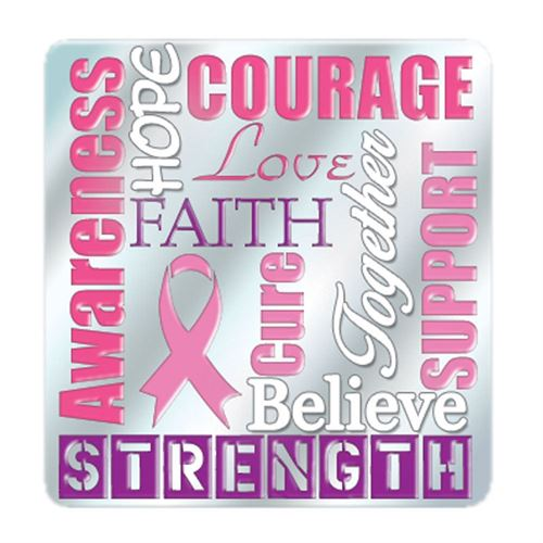 Jewelry Quality Strength, Awareness, Courage Breast Cancer Awareness Lapel Pin With Presentation Card