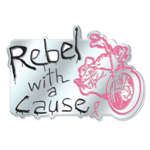 Jewelry Quality Rebel With a Cause Breast Cancer Awareness Lapel Pin with Presentation Card
