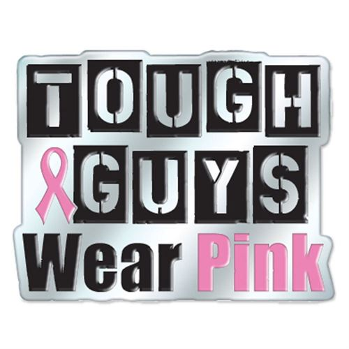 Jewelry Quality Tough Guys Wear Pink Breast Cancer Awareness Lapel Pin with Presentation Card