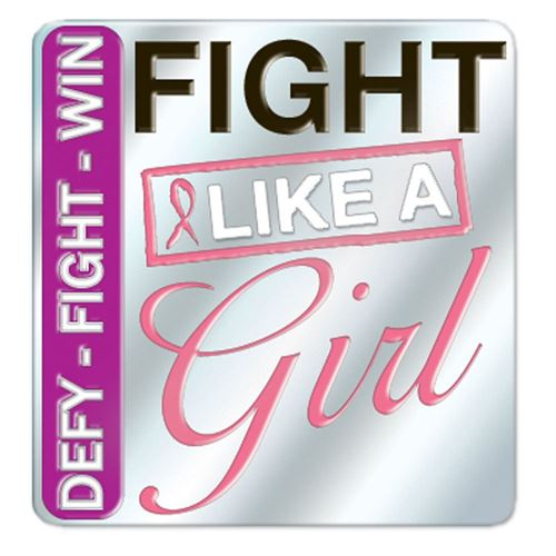 Jewelry Quality Defy, Fight, Win...Fight Like A Girl Breast Cancer Awareness Lapel Pin with Presentation Card