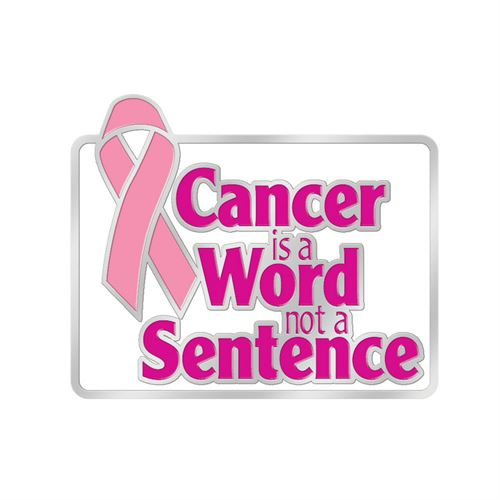 Jewelry Quality Cancer is a Word Not a Sentence Breast Cancer Awareness Lapel Pin with Presentation Card