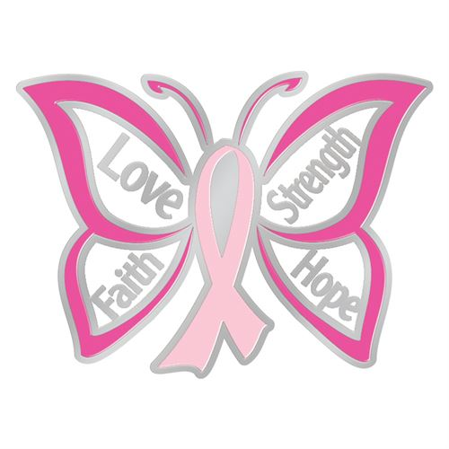 Love Faith Strength Hope Butterfly Design Breast Cancer Awareness Lapel Pin With Card