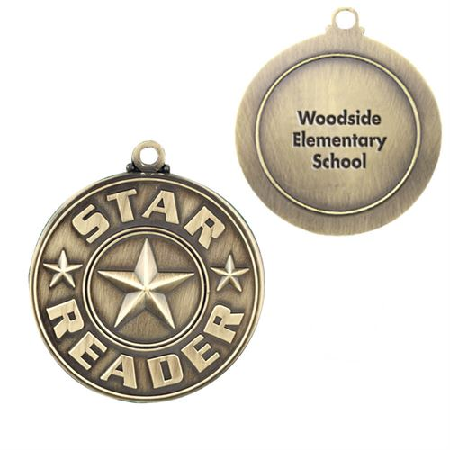 Star Reader Gold Academic Medallion With Personalization