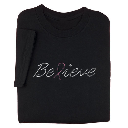 Pink Rhinestones Believe Breast Cancer Awareness Women's Cut Black T-Shirt