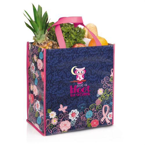 Give A Hoot For A Cure Breast Cancer Awareness Laminated Floral Shopper Tote