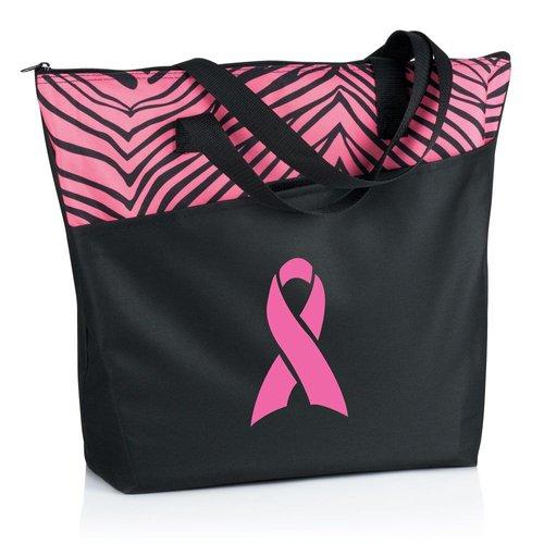 Pink Ribbon Zebra Tote
