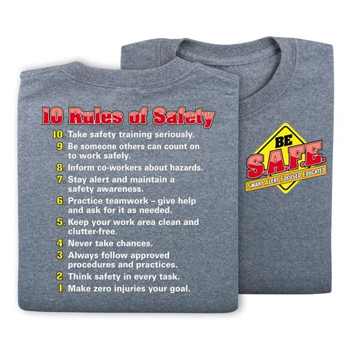 10 Rules Of Safety 2-Sided T-Shirt