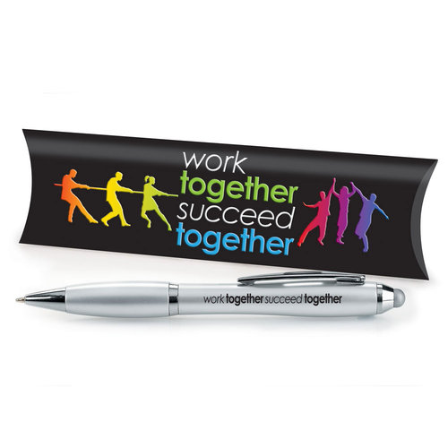Work Together Succeed Together Silver Stylus Pen With Pillow Box