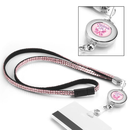 Celebrate Life: Pink Bling Lanyard with Retractable Badge Holder