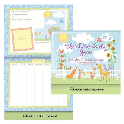 Watching Baby Grow First Year Keepsake Calendar With Pocket