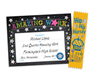 Colorful award certificates and high visibility award ribbons for your school to reward students' achievement