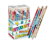 Colorful collection of personalized wooden pencils, custom sparkle pencils, and exclusive slogans to rewards students