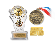 Give students a moment to shine with keepsake academic medallions, pins and trophies